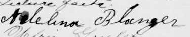 Signature d'Adelina Blanger: 22 septembre 1907