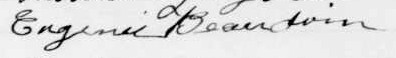 Signature d'Eugenie Beaudoin: 21 avril 1902