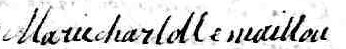 Signature Marie Charlotte Maillou: 18 avril 1763