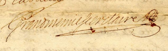 Signature de Grandmenil, notaire: 1707