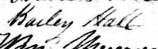 Signature de Bailey Hall: 23 mars 1845
