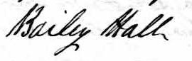 Signature de Bailey Hall: 6 mai 1845
