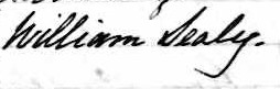 Signature de William Sealy: 8 juillet 1849