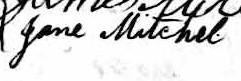 Signature de Jane Mitchel: 19 octobre 1845