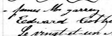 Signature de James McGarrey: 20 avril 1858