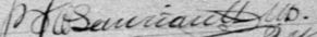 Signature de P. O. Lauriault MD.: 11 mai 1893
