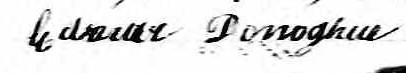 Signature d'Edward Donoghue: 20 avril 1859