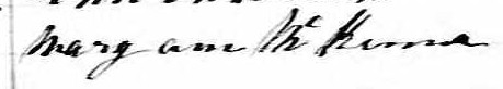Signature de Mary Ann McKenna: 9 avril 1862