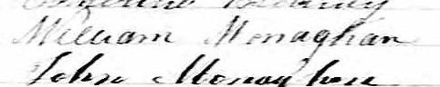 Signature de William Monaghan: 6 octobre 1863
